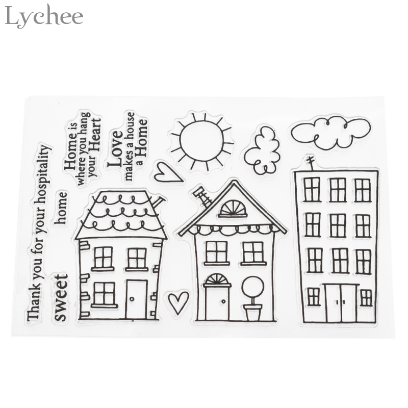 Lychee Houses Transparent Clear Stamp For DIY Photo Album Decorative Cartoon Stamps Childern Kids Crafts For Birthday Party