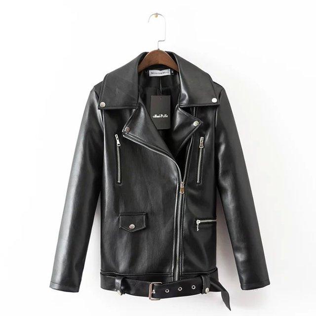 2016 Новый искусственной кожи куртка женщин мотоцикл куртки chaquetas де cuero mujer весна дамы пальто весте ан cuir femme черный MLXL