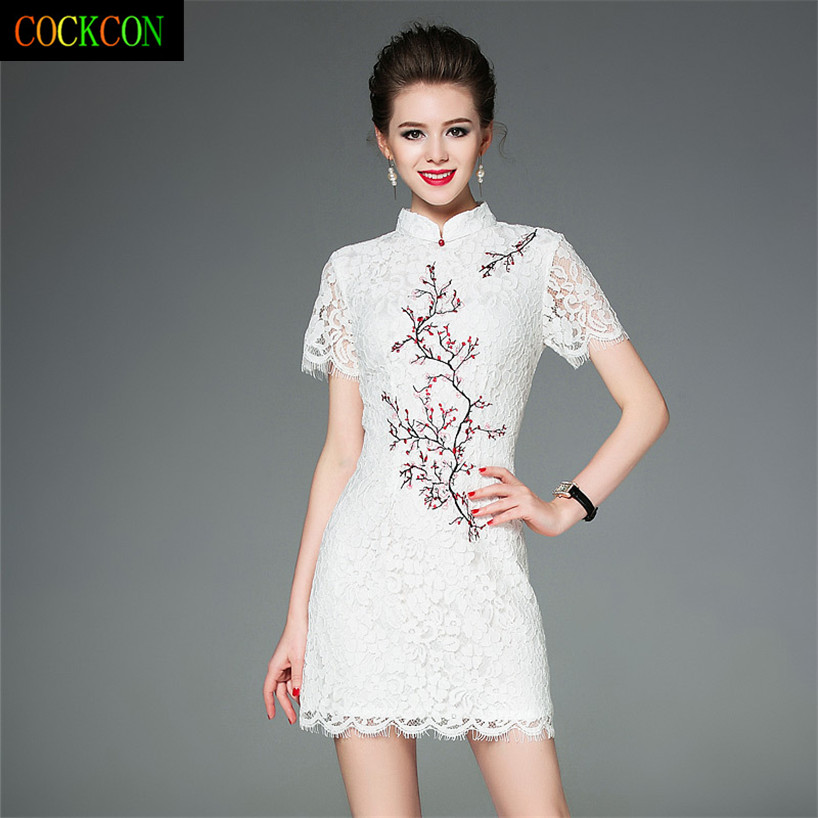 Shop2954251 Store COCKCON Summer new women dress lace embroidery of cultivate one's morality dress with short sleeves Dress