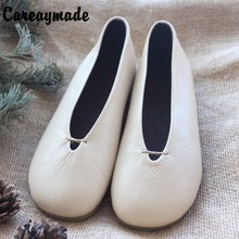 New 2015 Literary retro pure handmade shoes head layer cowhide low shallow mouth documentary female white shoes,2 model