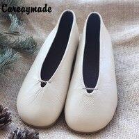 Careaymade-Nouvelle Littéraire rétro fait main pur chaussures tête couche vachette bas peu profonde bouche documentaire femmes blanc chaussures, 4 couleurs
