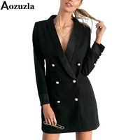 Women Autumn Solid Long Suit Blazer 2019 Brand Fashion Double Breasted Office Coat Black/White Elegant V Neck Jacket Blazers top