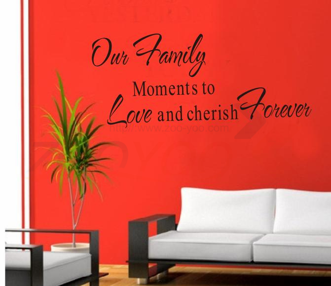 Cherish Family Moment Home Decor Creative Quote Wall Decal