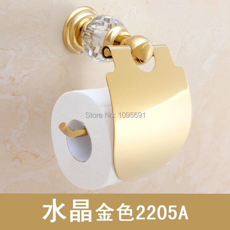ФОТО  luxury crystal + brass gold paper box roll holder toilet tissue Bathroom Accessories