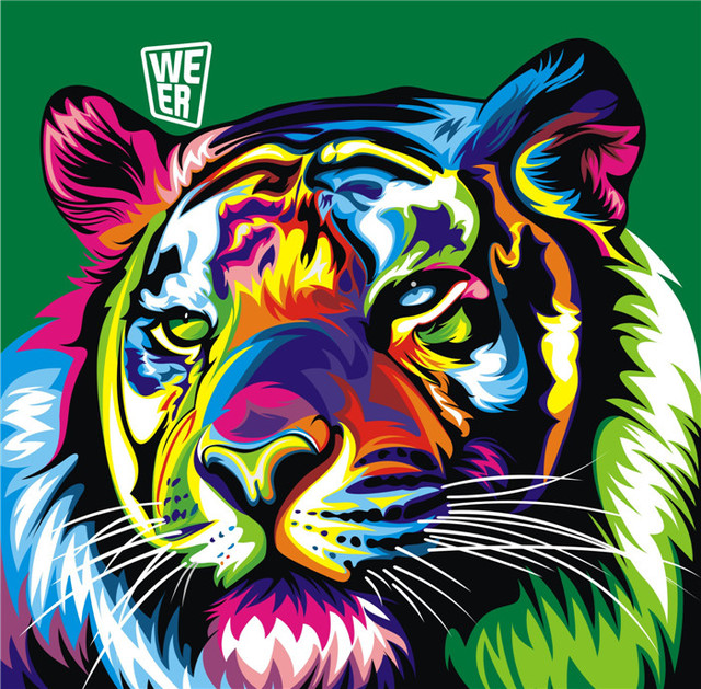 modern colorful animal tiger oil painting pictures print on canvas wall colorful art home decoration pictures - Colorful Art