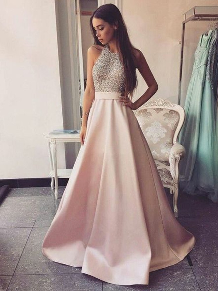 Pink 2019 Prom Dresses A-Line Beaded Crystal Satin Backless Plus Size Long Elegant Prom Gown Evening Dresses Robe De Soiree