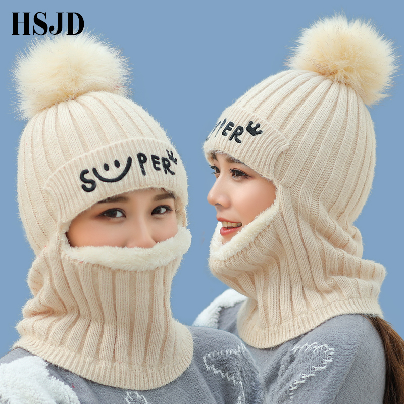 New Rabbit Hair Balaclava Knitted Winter Hats For Women Thick Mask Skullies Beanies Smile Caps For Girl Protect Neck Snow Cap