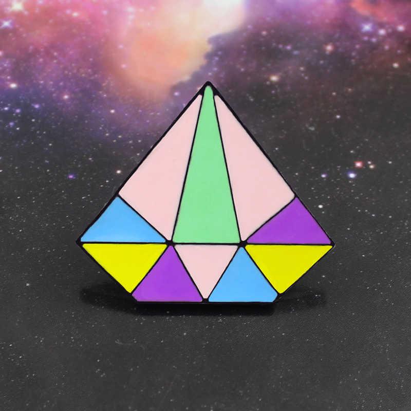 Segitiga Bros Warna-warni Geometric Bentuk Jahitan Segitiga Jarum Denim Pakaian Kelapak Pins Lucu Hadiah Aksesoris Pakaian
