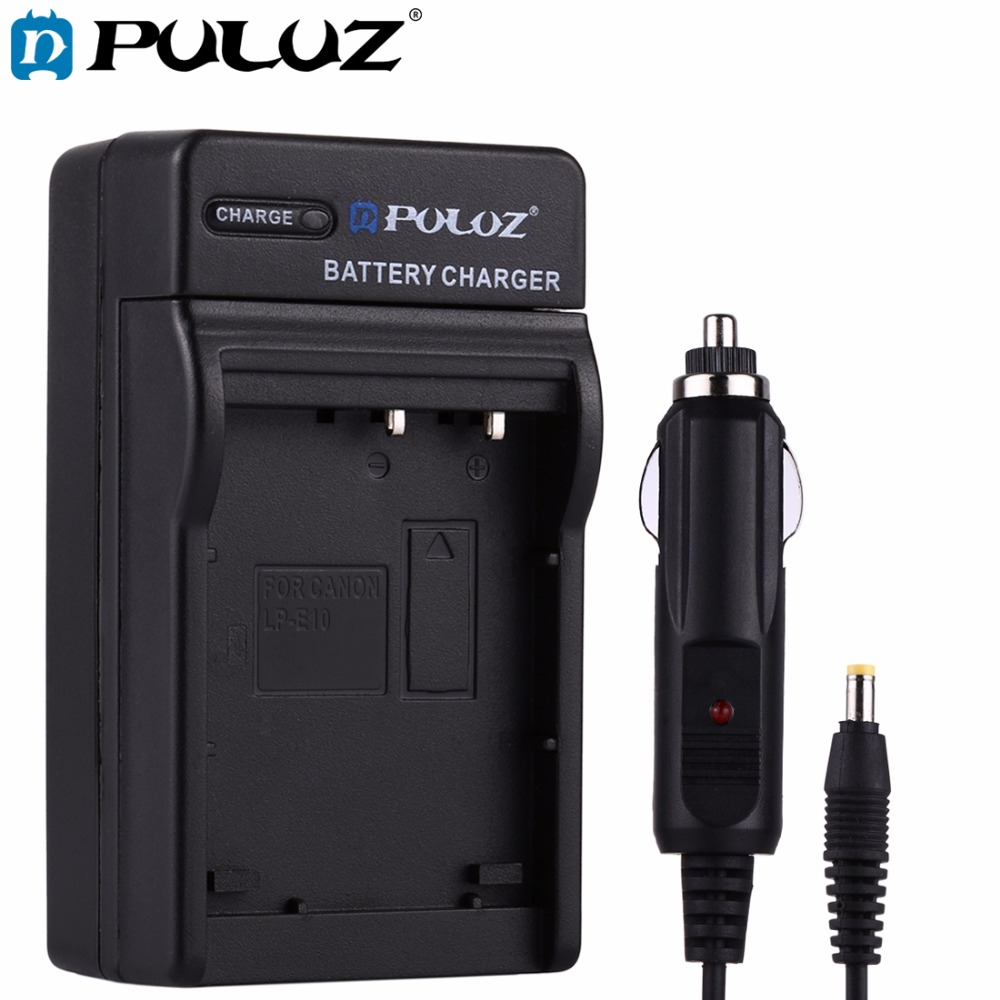 PULUZ 2 in 1 Digital Camera Battery Car Charger for Canon LP-E10 Battery for Canon 1300D, 1200D,EOS 1100D digital cameras