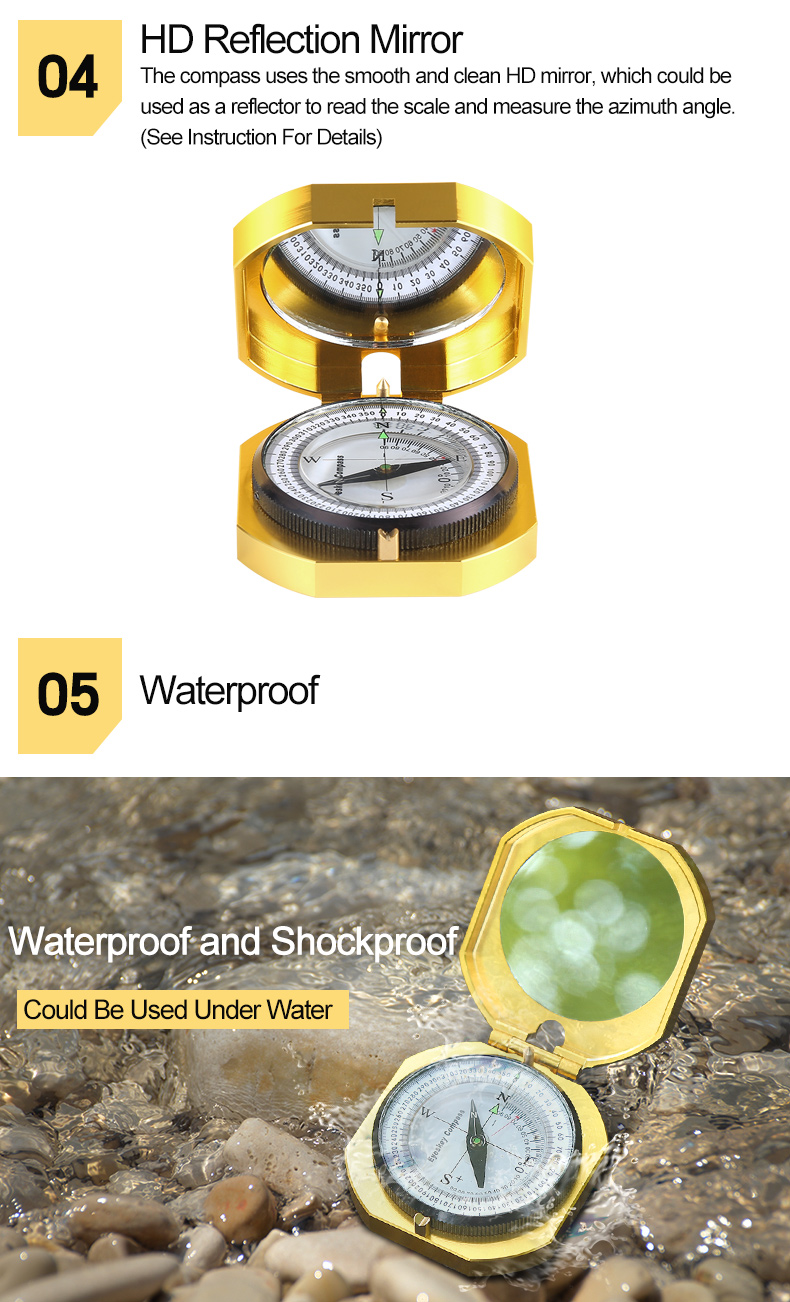 Eyeskey navegação metal bússola dourada handheld leve