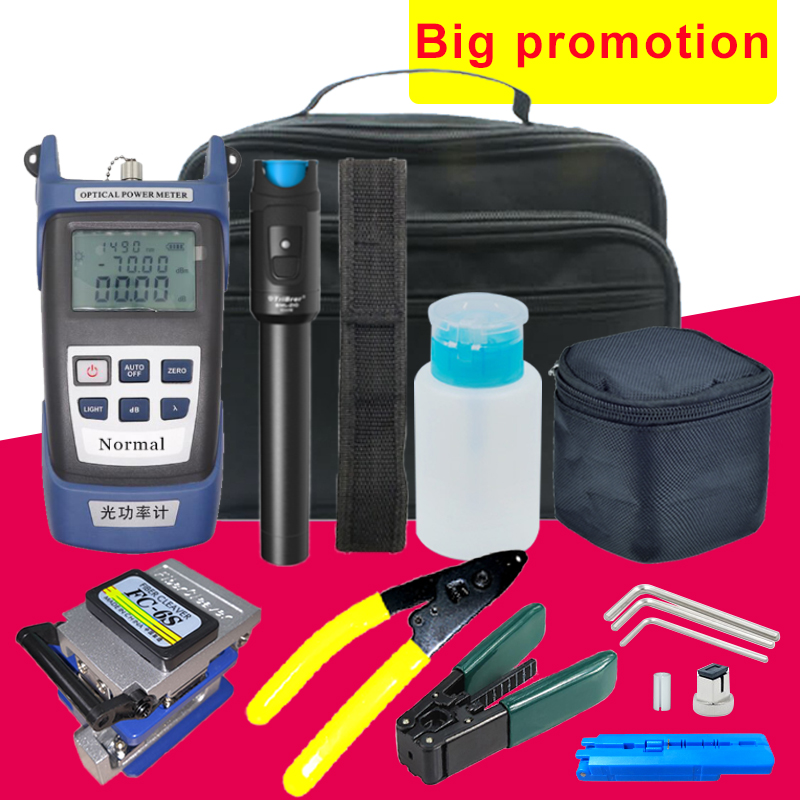 FTTH fiber optic tool kit FC 6S Fiber Cleaver Optical Power Meter 10km Visual Fault Locator