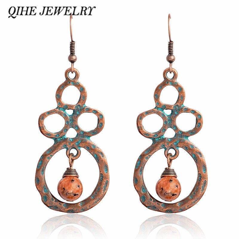 QIHE JEWELRY Drop earrings Orange blue bead circle verdigris rustic earrings Women jewelry Earrings for women Arete pendiente