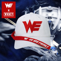 Tee7 Unisex Fashion Cotton Visor Women Streamer Baseball Cap Men Embroidery Letter WE Team Cap Couple