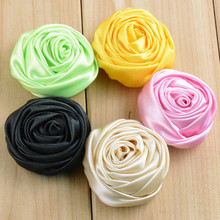 30pcs/lot 2 inch Multilayer Satin Rosettes Rose Flowers for Headband Hair Accessories DIY Photo Props 26 colors in stock FH44