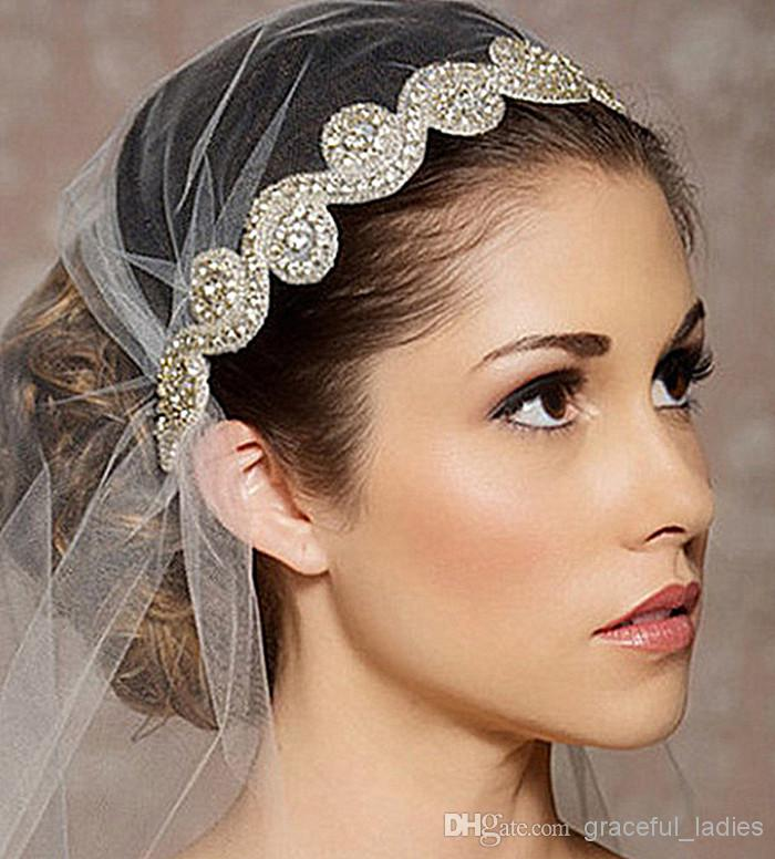 cheap silver crystal wedding head wear bridal hair accessories rhinestones in stock clearance hot sale bridal hat real image in bridal headwear from