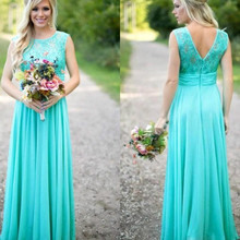 New Arrival Long Green Bridesmaid Dresses 2016 Lace bodice Chiffon Floor Length Long Wedding Party Dresses