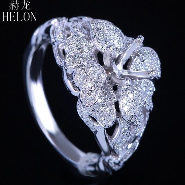 Helonリアル925スターリングシルバーラウンドカット5ミリメートルセミマウントパヴェ100%天然0.7ctダイヤモンド女性トレンディ花ファインジュエリーリング
