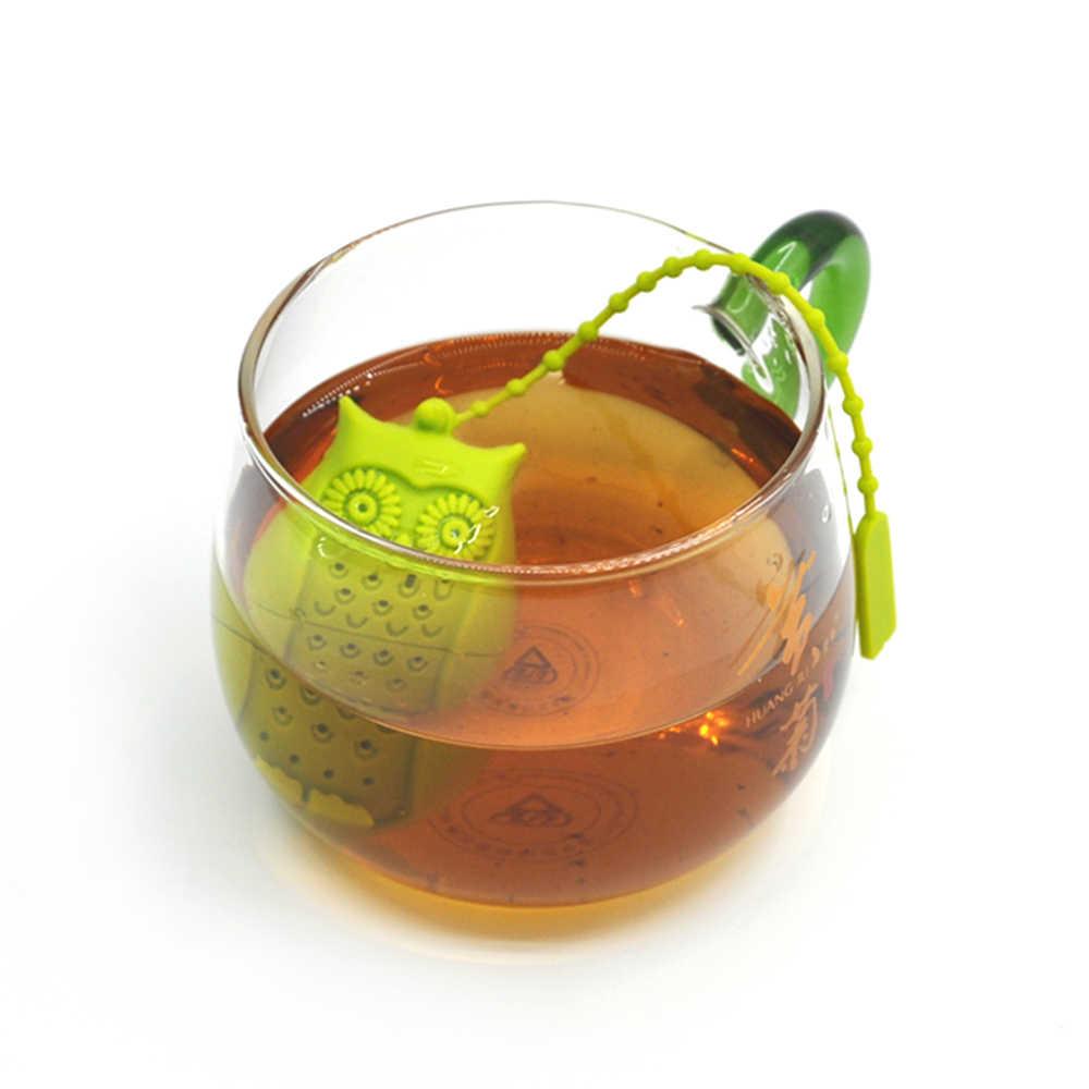 Силиконовое чайное ситечко многоразовое яйцо динозавра/акула/Сова/милый язык Чай Infuser Чай Мешок лист травяной сито для приправ диффузор принадлежность для чая