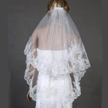Cheap Fingertip Veil Appliqued Edge 75CM Short Bridal Veils Two Layer Wedding with Comb Vintage Bride Dress