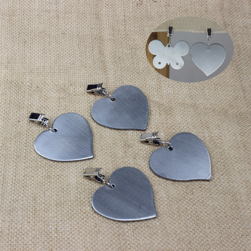 BEEMSK 4pcs/set Staineless Steel Tablecloth Pendant Coffee Tablecloth Holder Hooks Tableware Heart/butterfly Design