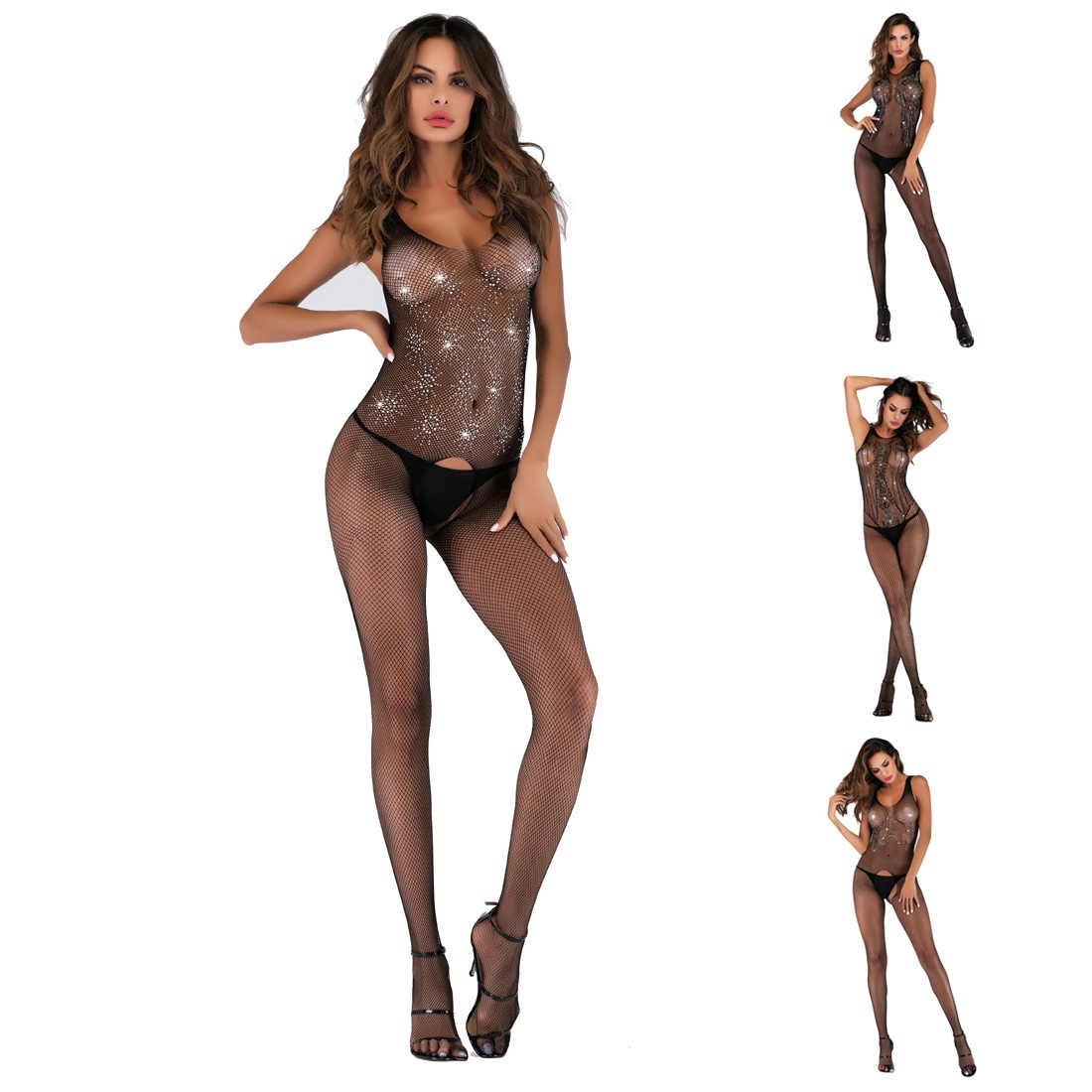 Hirigin, сексуальное женское черное кружевное Сетчатое боди, прозрачное белье, бюстье, ажурные чулки для тела размера плюс, длинный рукав, открытая промежность