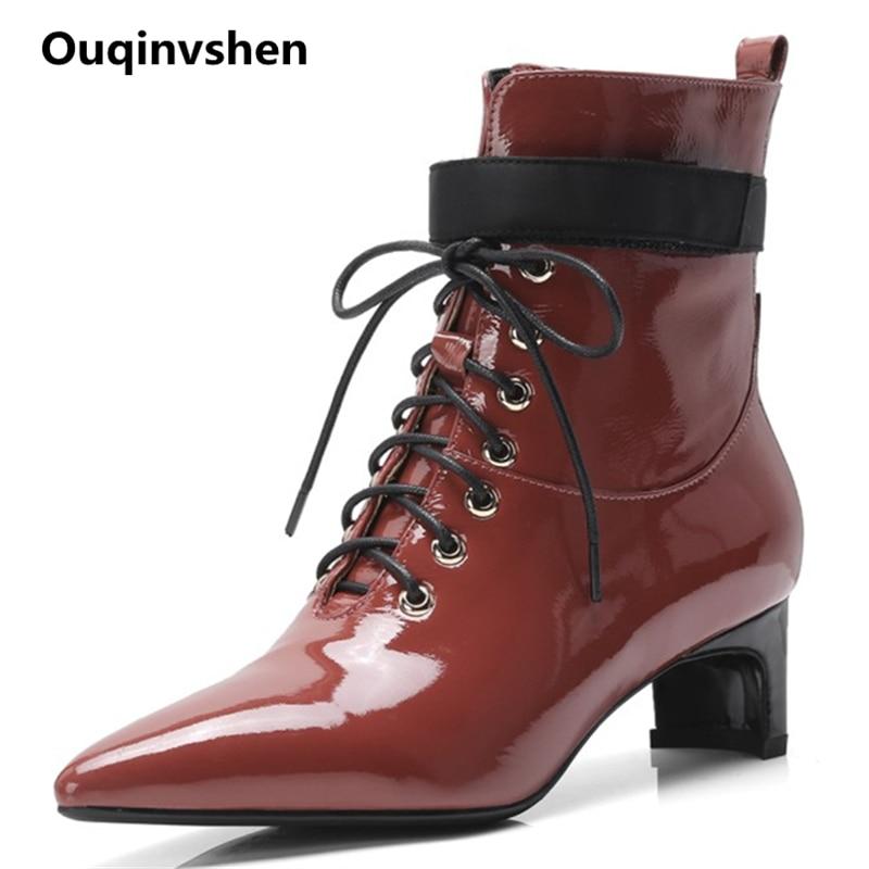 Étrange Bout red Taille 2018 41 De Ouqinvshen Mode Short noir Plus Partie D'hiver Plush Plush rouge Occasionnel Femmes Lace Noir La Style Up Pointu Black Bottes wZikXOPuT