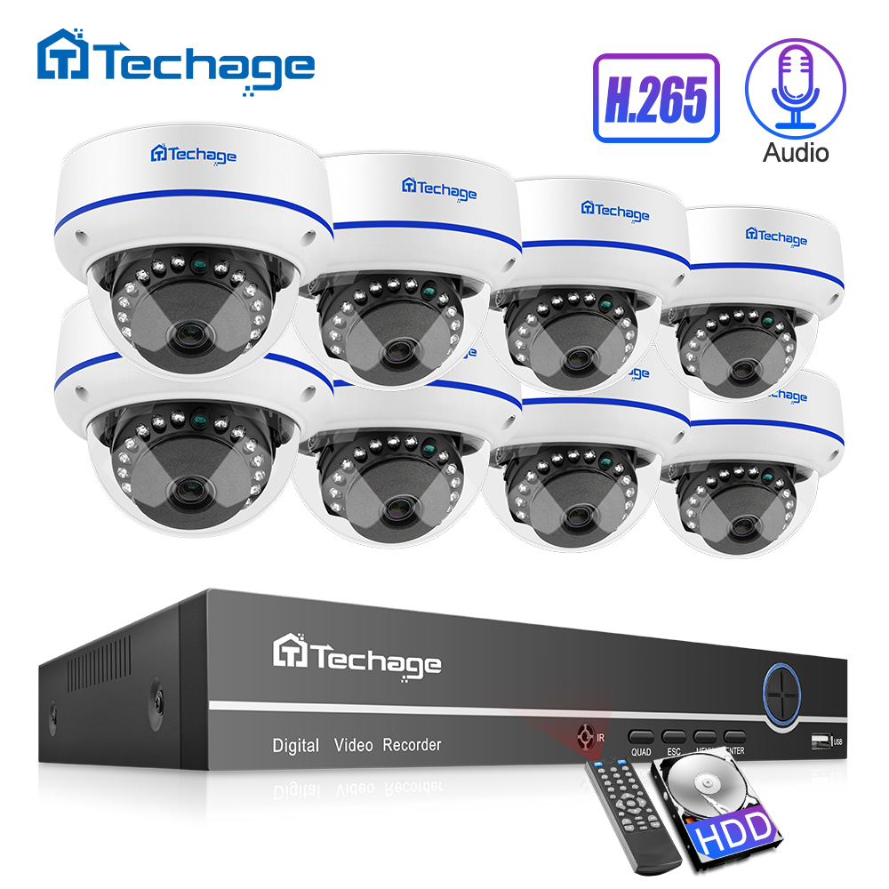 Techage H.265 2MP 8CH 1080 P CCTV Sistema de Segurança Kit NVR POE Áudio Câmera Dome IP Indoor P2P Gravar Som conjunto de Vigilância Por vídeo