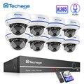 Techage H.265 8CH 1080P POE NVR комплект CCTV система безопасности 2MP аудио запись звук Крытый Купол IP камера P2P видео набор для наблюдения
