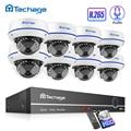 Techage H.265 8CH 1080P POE NVR Kit CCTV Security System 2MP Audio Geluid Opnemen Indoor Dome IP Camera P2P video Surveillance Set