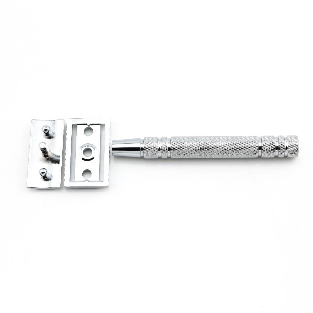 Купить с кэшбэком Double Edge Safety Razor Shaving Razor Silver Manual Razor Classic Style 10.8CM Long Anti Slip handle Lyrebird HL2 NEW
