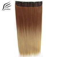 Jeedou lisci capelli sintetici clip nelle extension di capelli one piece 5 pinze 24