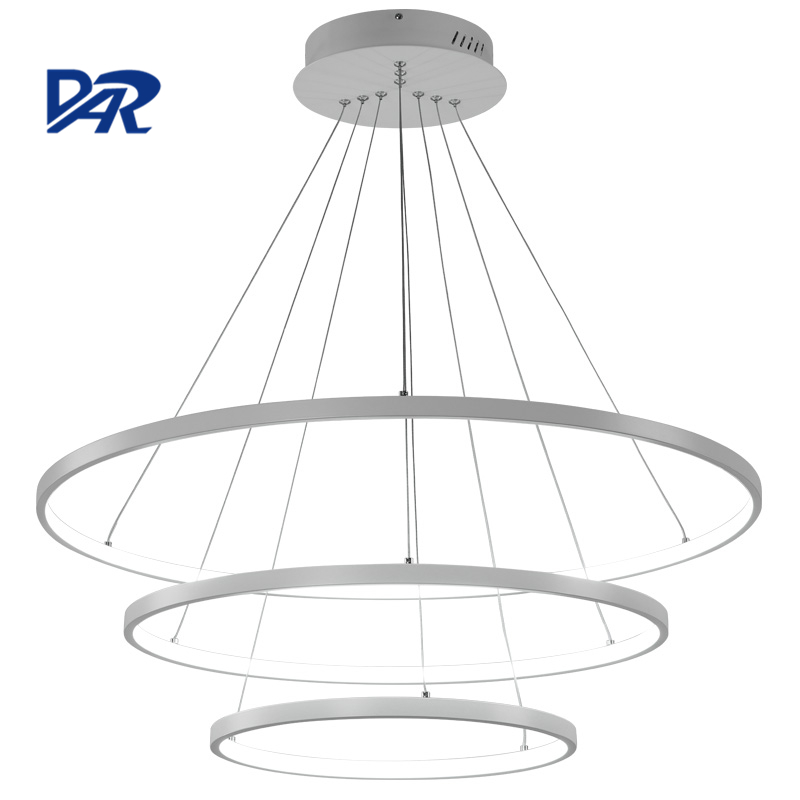 Modern Led Chandelier Lighting For Living Room Dining Room Aluminum Body 1/2/3 Circle Rings Acrylic Hanging Lamp lustre avize modern crystal chandelier led hanging lighting european style glass chandeliers light for living dining room restaurant decor