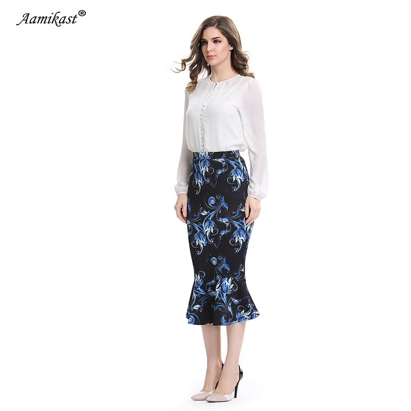 cf4f75d3711 Aamikast Women Trumpet Print Skirt New Fashion 2018 Elegant Vintage Casual  Wear To Work Party Evening Sexy Buttocks Summer