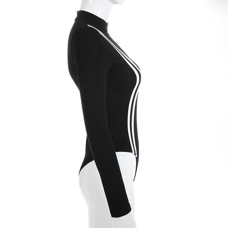 Weekeep женский сексуальный черный полосатый бодикон боди весна осень длинный рукав боди передняя молния цельный комбинезон Комбинезоны
