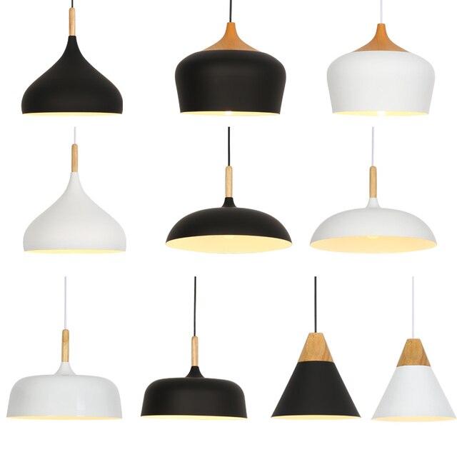 Nordic Pendant Lights E27 Pendant Lamp Light Fixtures Bar Cafe Restaurant for decor Loft Wood Aluminum Lampshade Hanging Lights