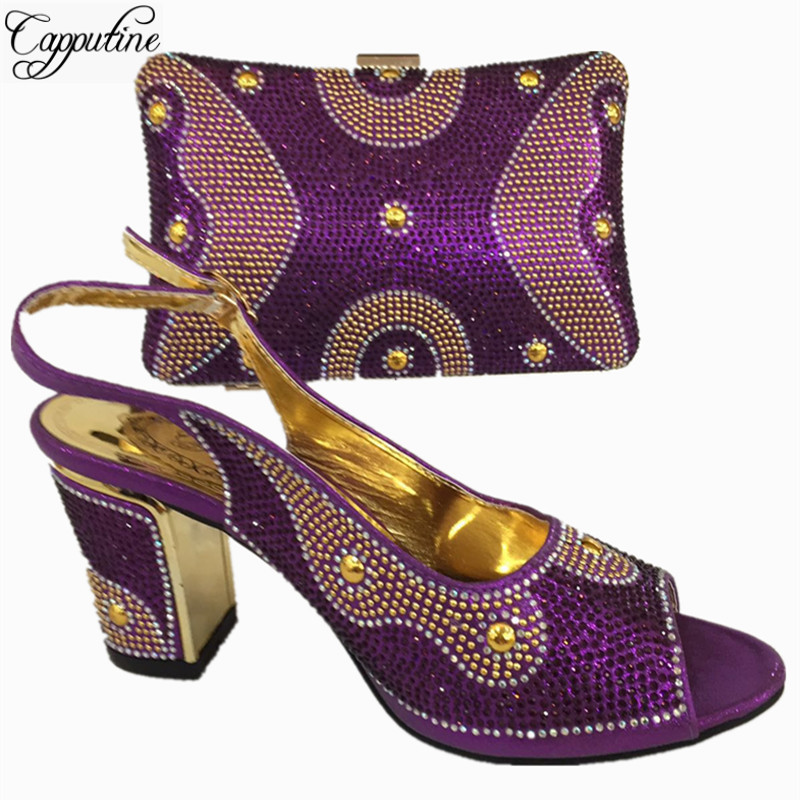 Capputine Hot Selling African Woman Shoes And Bags Set Italian Style High Heels Shoes And Bag Sets For Dress Size 37-42 BL765C