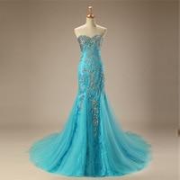 Luxury Arabic Evening Dress Long 2018 Mermaid Sweetheart Floor Length Sparkly Beading Diamond Lace Evening Gown Blue Prom Dress