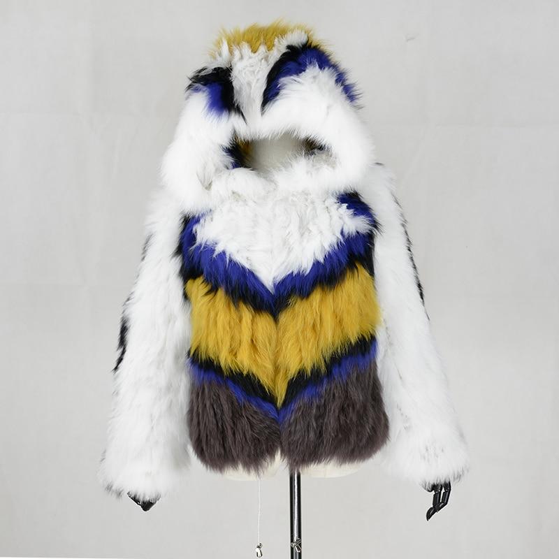 O 2017 manteaux orange De fourrure Fourrure Main Femmes Blue Blue Femmes Renard Luxe Cou Fourrure dark Court yellow Anderella Fait Tricoté Marque Blanc Manteau A Style Manteaux light qC4dq8wE