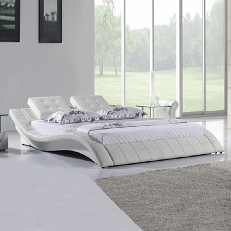 Simple and stylish leather double with soft leather art bed simple odern nordic leather double wedding leather bed furniture