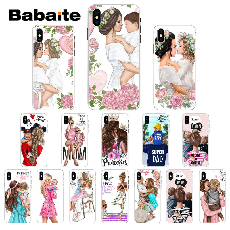 Babaite Family Boy Girl Mom Dad princess Baby Transparent Soft TPU Phone Case for iPhone 8 7 6 6S Plus X XS MAX 5 5S SE XR