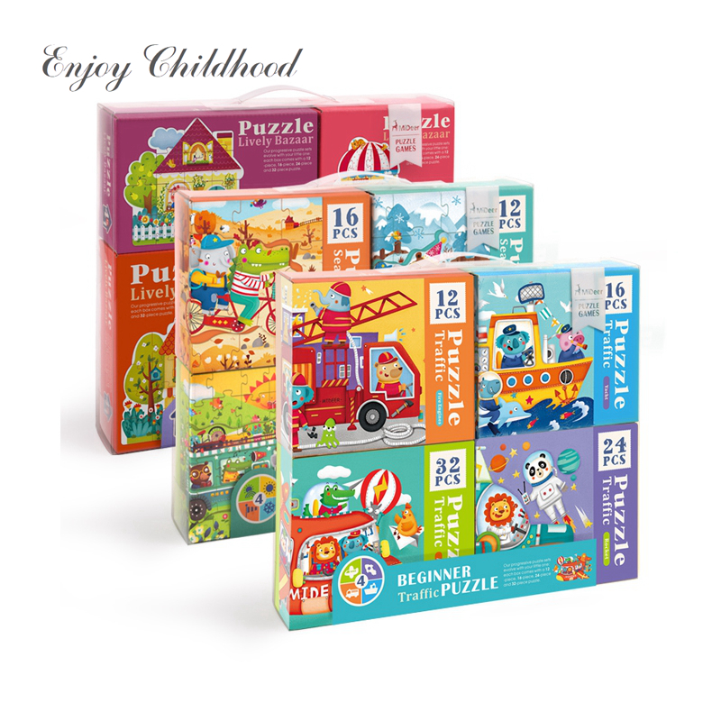 Mideer 4 dans 1 Thème 4 saisons Maison Animé Bazar Débutant Puzzle Jouets Éducatifs pour Enfants Papier Puzzle pour enfants