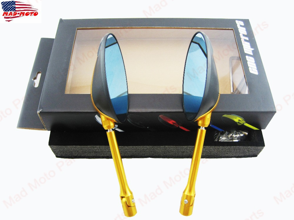 MAD MOTO Universal Aluminum CNC Motorcycle Rearview Mirrors fit for Ducati Honda, etc..  gold  color rearview mirrors common for yamaha mt09 07 zx6r zx7r zx10r zx14r ninja650r er6n cnc mirror motorcycle scooter accessories