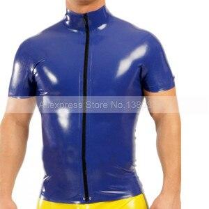 Dark Blue Lateks Mężczyzna Góry Tee Gumy Krótkie Rękawy T-shirt z Przodu Na Zamek Błyskawiczny S-LSM040