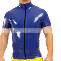 Dark Blue Latex Man Top Tee Rubber Short Sleeves T shirt with Front Zipper S LSM040