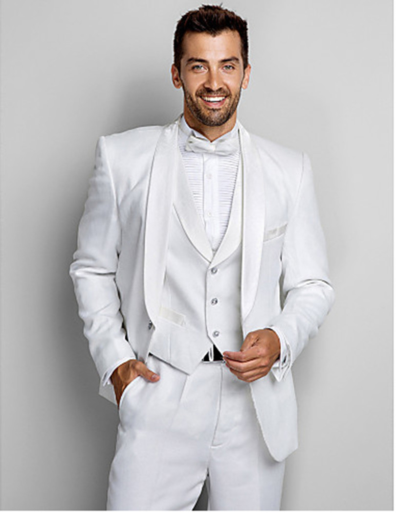 white suits men groom tuxedo jacket custom made suit prom ...