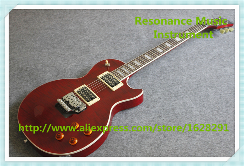 New Arrival Dark Wine Red LP Standard Electric Guitar OEM Floyd Rose Tremolo One Piece Neck & Body best lp electric guitar one pc body