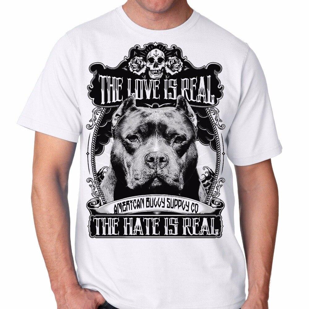 Мужская мода футболка Homme любовь реальна питбуль хулигана породы мужская белая футболка Дизайн