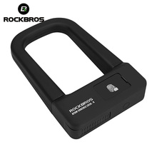 ROCKBROS Bicycle Fingerprint U Lock Cycling Anti-theft Steel Lock MTB Road Folding Mountain Bike Alarm Locks Bicycle Accessories free shipping car lock u belt bracket small mountain bike theft