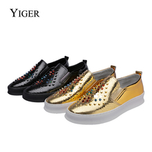 YIGER New 2018 Men Loafers Rivet casual shoes for male Leisure man lazy Slip-on Fashion Light and Breathable  0153