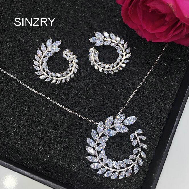 SINZRY elegant CZ jewelry set white Cut cubic zirconia leaf design brilliant pendant necklaces earrings jewelry sets for women